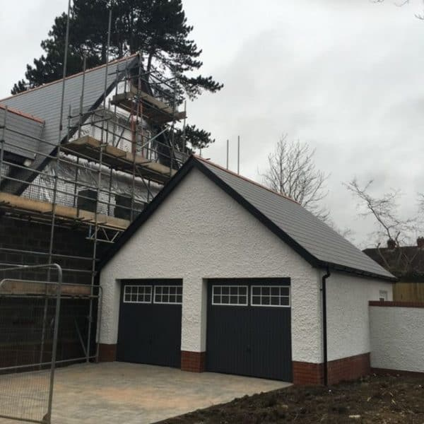 Garage and Roof with Scaffolding