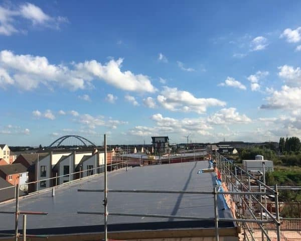 Flat Roof with Scaffolding